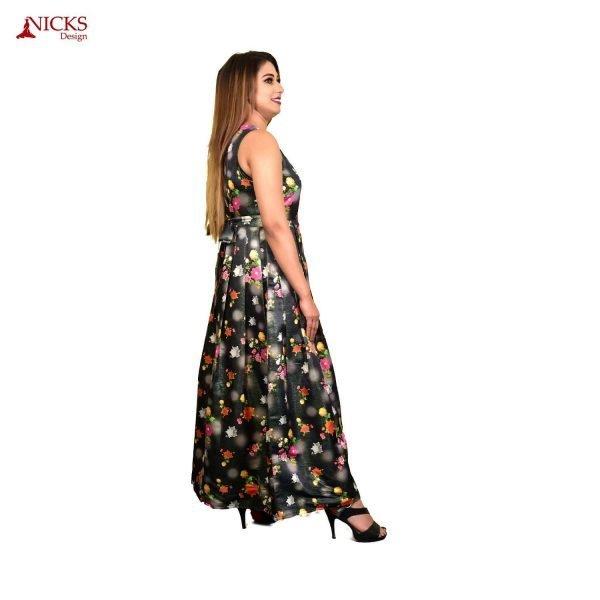Floral digital print sleeveless dress