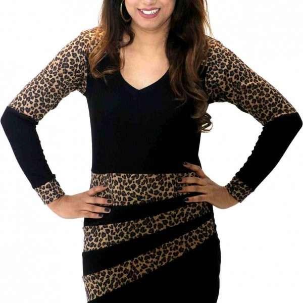 Leopard stripe with round neck