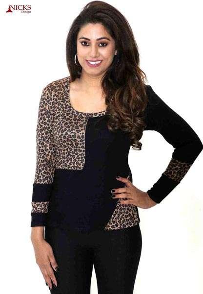 Designer leopard black top