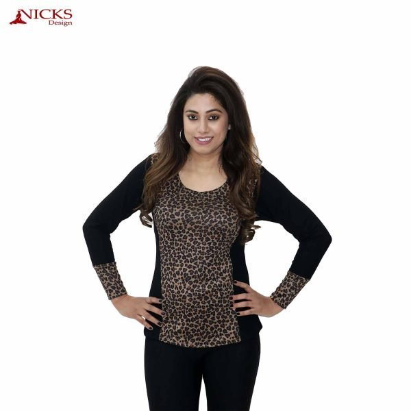 Leopard with black contrast top