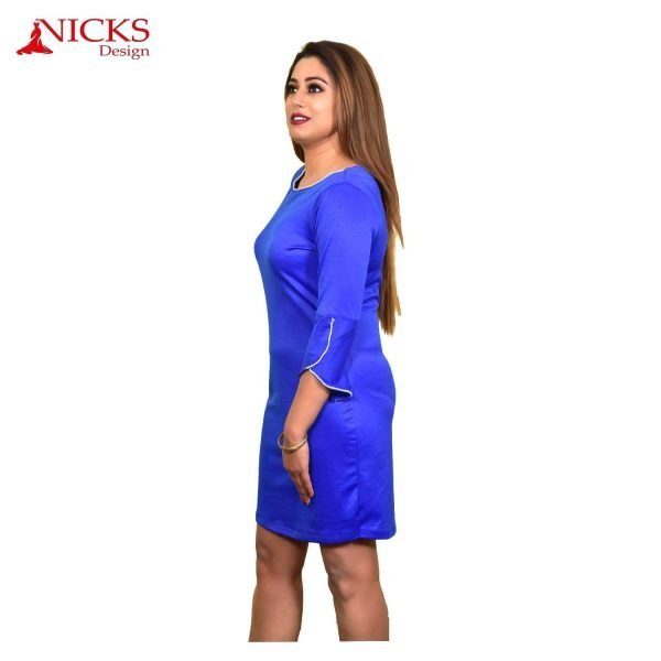 Blue short dress with beads