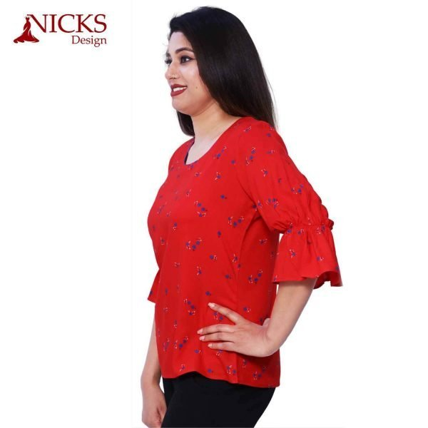 Rayon Red Frill Ruffle Top
