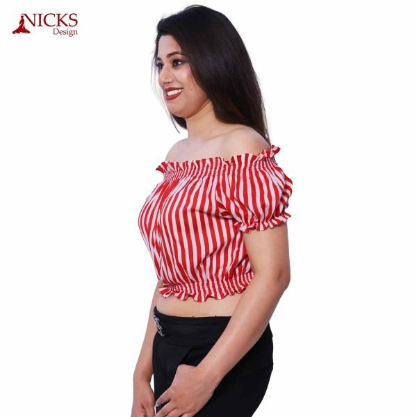 Off Shoulder Red Pin Striped Top