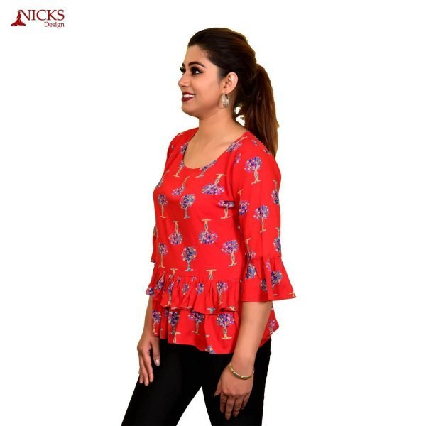 Rayon Red Double Frill Top