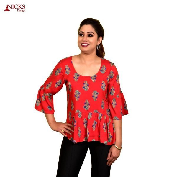 Rayon red single frill top