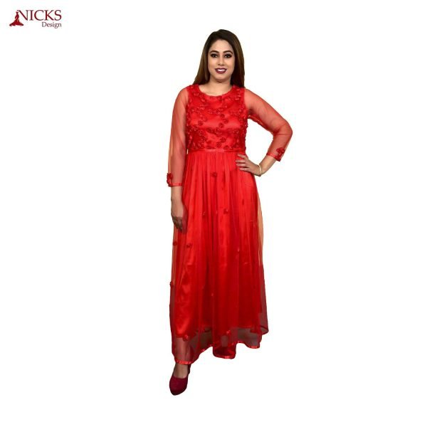 Red flower net gown