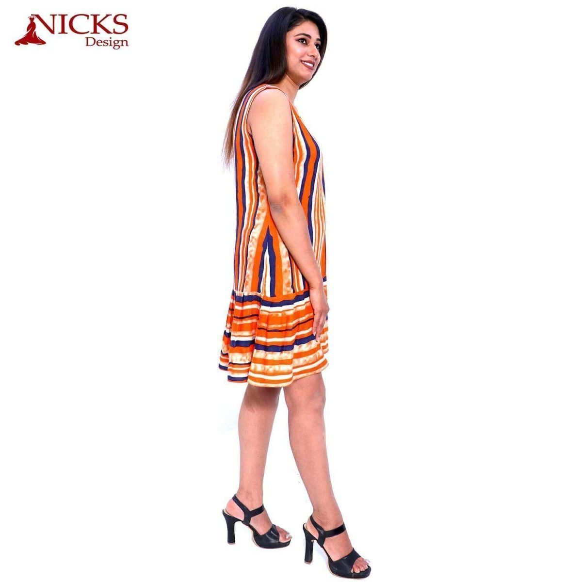 Rayon Sleeveless Stripe Orange Frill Frock